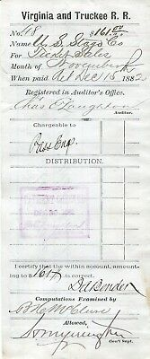 V.& T.r.r.,virginia Truckee Account Invoice & Signed  December 15,1882