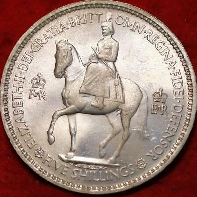 Uncirculated 1953 Great Britain 5 Shillings Clad Foreign Coin