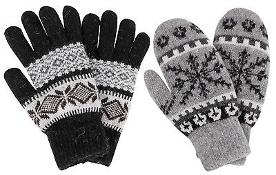 2 Pairs Winter Cable Knit Thick Gloves Warm Mittens Set For Women Ladies