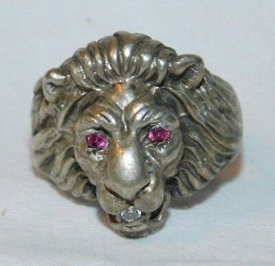 Awesome old Sterling Silver Lions Head Mans Ring