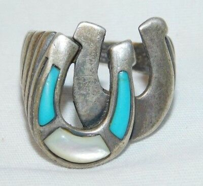 Awesome old Sterling Silver Silver Cloud Turquoise Mans Ring
