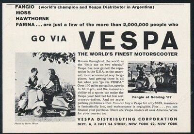 1957 Vespa scooter moped Juan Manuel Fangio photo vintage print ad