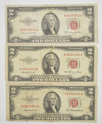 Lot (3) Red Seal $2.00 US 1953 or 1963 Notes - Currency Collection *277