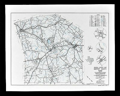 Vintage Texas Map Bastrop County - Elgin Smithville Mcdade - Camp Swift Military