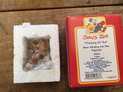 "Suzy's Zoo ""Thinking Of You"" Hugo Bear With Pen 3"" Ceramic Figurine. New In Box"