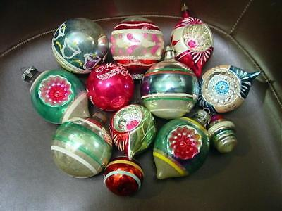 12 Vintage Mercury Glass Christmas Ornaments Indents Painted Shiny Brite Germany