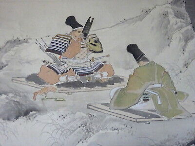 Japanese Old Painting Hanging Scroll Samurai Nature Signed