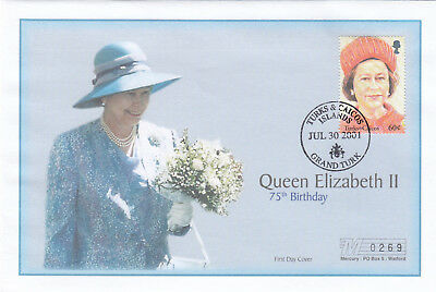 (19410) Turks and Caicos Mercury FDC Queen 75th Birthday 30 July 2001