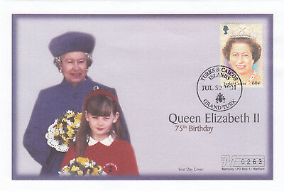 (19412) Turks and Caicos Mercury FDC Queen 75th Birthday 30 July 2001