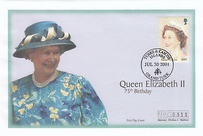 (19408) Turks and Caicos Mercury FDC Queen 75th Birthday 30 July 2001
