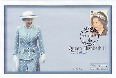 (19414) Turks and Caicos Mercury FDC Queen 75th Birthday 30 July 2001