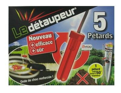 LE DETAUPEUR LOT 5 PETARDS RECHARGE anti taupes rat taupier taupe