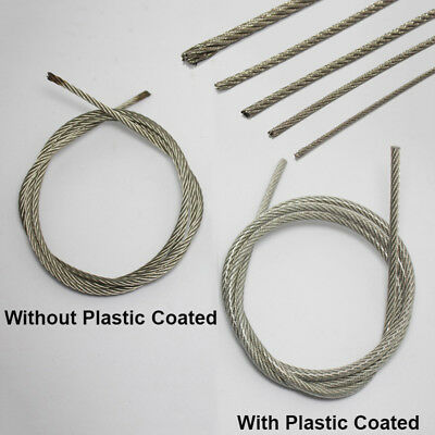 0.8~6mm Stainless Steel Wire Rope Cable Flexible PVC Plastic Coated 1M/5M/10M