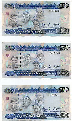 Central Bank Of Nigeria  3 X 50 Naira Banknotes (150 Naira) Consecutive Numbers