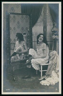 Edwardian Risque photo french near nude woman original old 1900s postcard cc