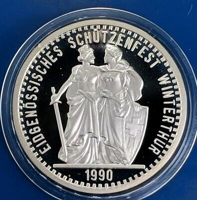 1990 Switzerland 50 Francs Shooting Thaler Silver Proof coin