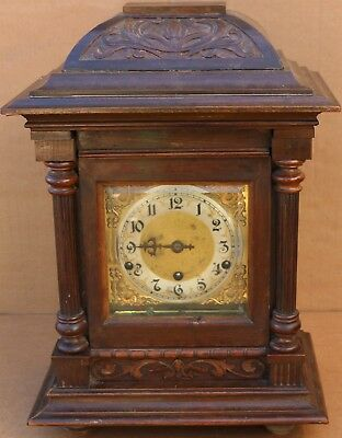 Very Large Old Wooden Cased Schlenker & Kienzle Chiming Mantel Clock