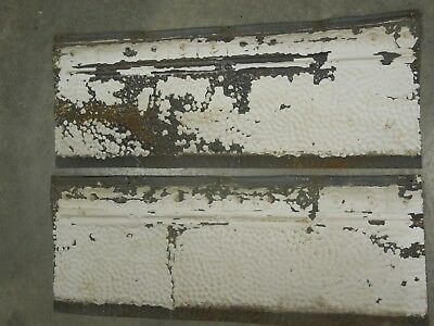 "Old Antique ( Metal )  tin ceiling tile tiles (2) 24""x 9"" filler, backsplash?"