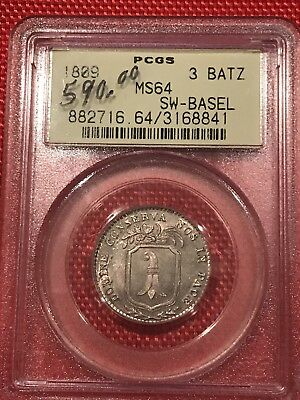 1809 3 Batz  Swiss Coin In MS64 - This is a $600 Coin Retail - Take Notice