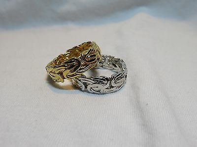 QVC Bronzo Italia White Yellow Bronze Byzantine Band Ring Sz 9 Wedding