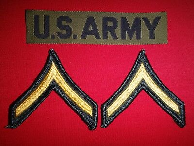 US Army Pocket Tape Patch + Pair Of us Army PRIVATE Rank Chevrons New Unused