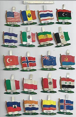 Lot of 20 Diff #1 1959 NABISCO NATIONAL FLAG Tin Tab Pins Shredded Wheat Cereal