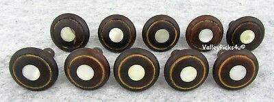 Lot 10 Early Antique Wood Furniture Drawer Chest Pulls w Mother Of Pearl Inlay