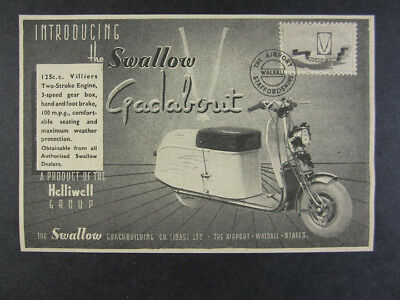 1948 Swallow Gadabout 125cc Scooter 'Introducing' vintage print Ad