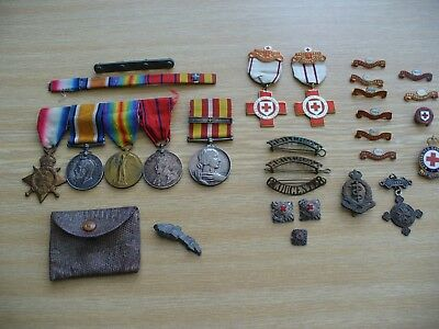 W.w.1 Set Of Four Medals And Other Badges For - 38601 Pte Ernest King R.a.m.c.