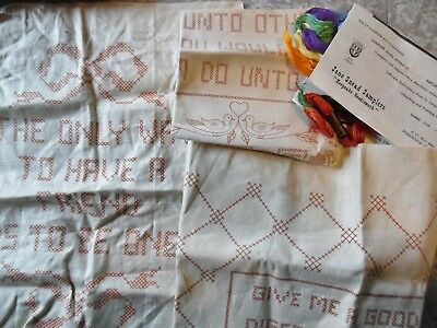 Lot Of 3 Vtg Stamped Linens~Cross Stitch Embroidery Samplers~1 Jane Snead+2 More