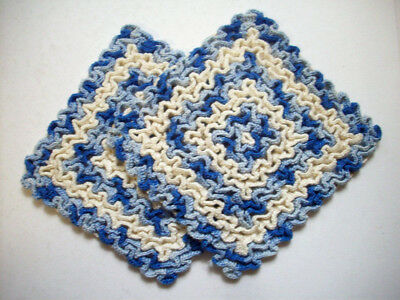2 Wiggly hand crocheted  blue and creme potholder pot holders