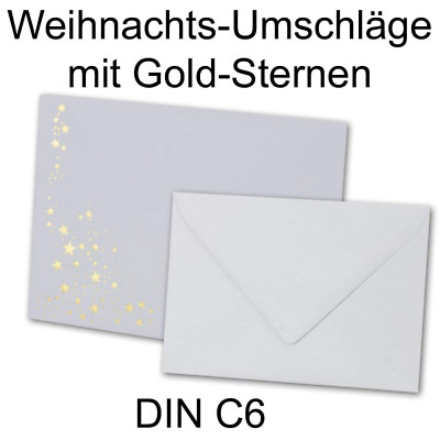 Envelopes, DIN C6, 162 mm x 115 mm, white with golden metallic foil stars, wet g