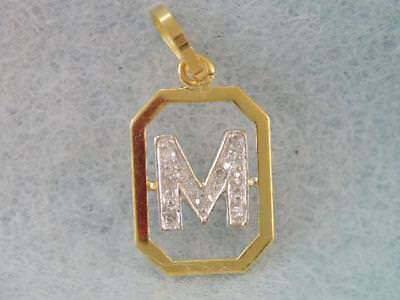 Beautiful Solid 750 18K Solid Gold & Diamond Initial M Pendant Or Charm