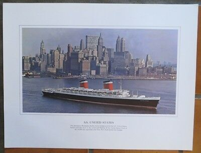 SS UNITED STATES Original Colorful Lithograph