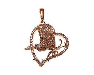 Pink Rose Gold Plated Sterling Silver 925 Bling Cz Butterfly Heart Pendant 24Mm