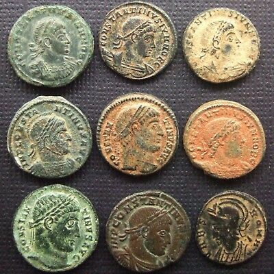 Roman Empire; A job lot of 9 AE coins; various types
