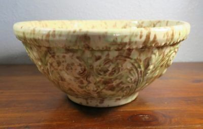 Yellowware Spatterware Mixing Bowl with Scroll and Beaded Relief Decor