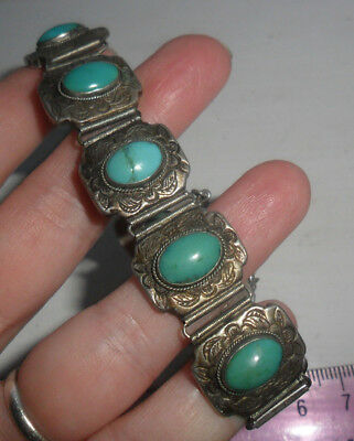 Vintage antique Chinese silver turquoise panel bracelet old jewellery art deco