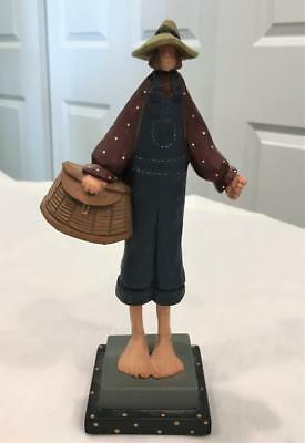 1996 Williraye Studio Folk Art Figure WW1054 Cousin Man / Boy w/ Fishing Basket