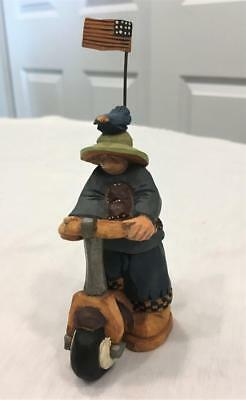 1998 Williraye Studio Folk Art Figure WW2732 Children on the Move Boy on Scooter