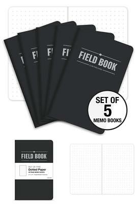 """Field Notebook - 3.5""""x5.5"""" - Black - Dot Graph Memo Book - Pack of 5 - 240 PAGES"""