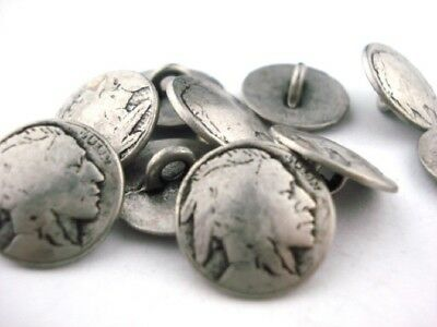 Indian Head Nickel Metal Button Qty 4 to 20 Antigue Silver Clothing Clasp 15mm