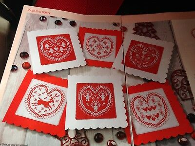 Cross Stitch Chart 6 Scandi Style Heart Card/motif Charts