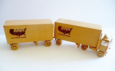 Vintage Wood Semi Truck, Double Trailer, ANR Freight System Trucking Advertising