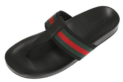 8b2bdb60183a New Gucci Leather Web Sandals Flip Flops Beach Thong Shoes 8.5 G us 9