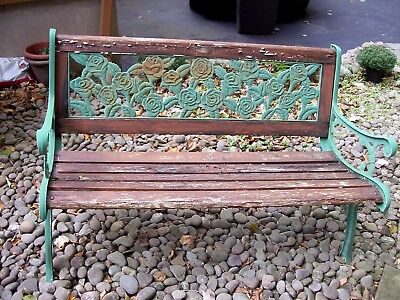 Better Homes and Gardens Green Cast Iron Metal Flowers Wood Patio Garden Bench