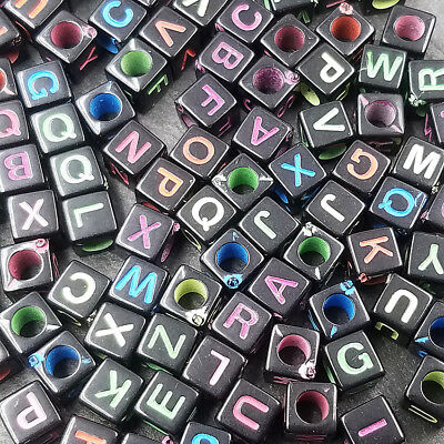 Acrylic 5.5mm 100PCS Jewelry A~Z Spacer 26 beads loose letters Mixed findings