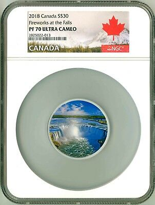 2018 Canada S$30 2 Oz. Fireworks At The Falls Glow In The Dark NGC PF70 UC OGP