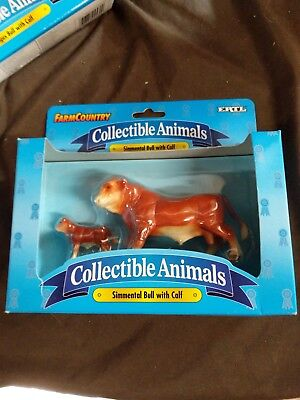 """Ertl """"Farm Country"""" Collectable Animals """"SIMMENTAL BULL WITH CALF"""""""