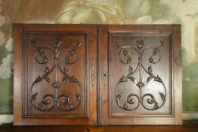 Pair Antique Carved Black Forest Architectural Door Panels Gothic